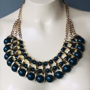 Vintage Blue Beaded Bib Neckl…